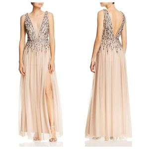 NEW AIDAN MATTOX Nude Plunging Neckline Embellished Beaded Sequin Mesh Maxi Gown